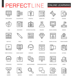 Online education thin line web icons set vector