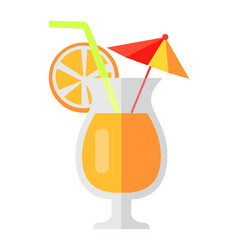 orange cocktail with fruit slice and umbrella vector image