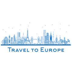outline famous landmarks in europe london paris vector image