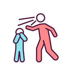 Parent scream at child rgb color icon vector