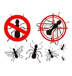 Pest control ant icons set vector