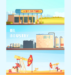Petrol industry horizontal banners vector