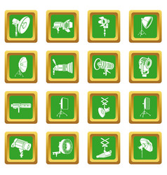photography icons set green square vector image