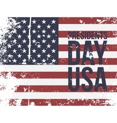 Presidents day usa text on colorful grunge flag vector