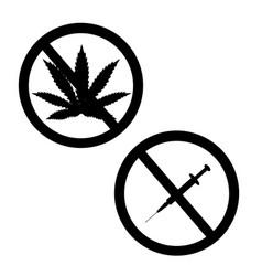 prohibition sign set no drugs and marijuana vector image