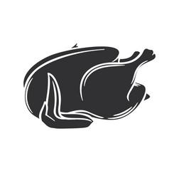 Raw whole chicken glyph icon vector