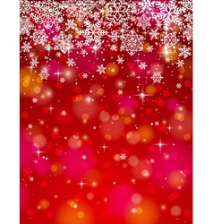 Red background with many snowflakes vector