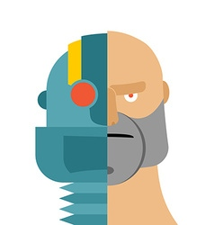 Robots head cyborg and people Iron person and man vector image