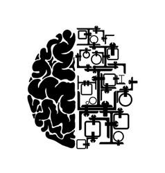 schematic representation human brain one vector image