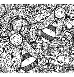 seamless pattern with bee flowers and berries vector image