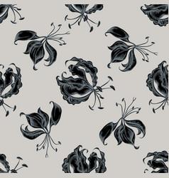 seamless pattern with hand drawn stylized gloriosa vector image