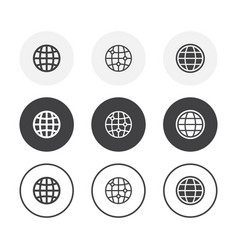 set 3 simple design globe icons rounded vector image