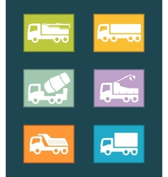 Set colorful industrial transport icon vector