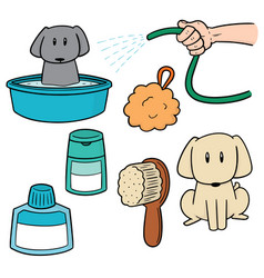 Set dog shower vector