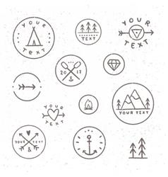 set hand drawn badges outdoor camping tribe vector image