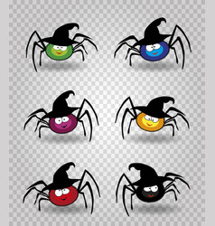 set of cute funny multi colored spiders wearing vector image