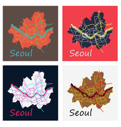 Set of flat map of seoul with borders vector