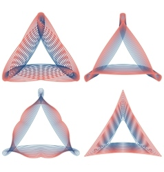 Set of guilloche triangular elements for design vector image