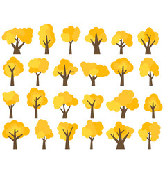 set of twenty four different cartoon yellow trees vector image