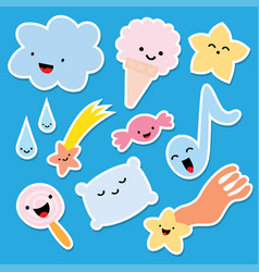set stickers comic style vector image