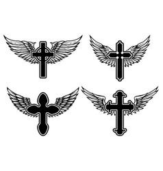 Set winged christian religious crosses vector