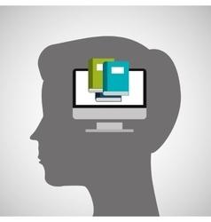 Silhouette head boy education online vector