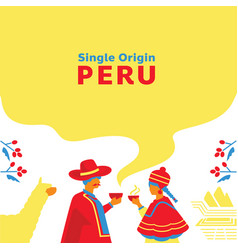 Single origin coffee peru background with local vector