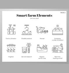 Smart farm elements line pack vector