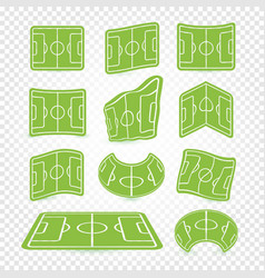 soccer field marking logos set empty stadium vector image