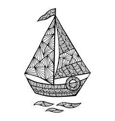 Stylized sailboat zentangle vector image vector image