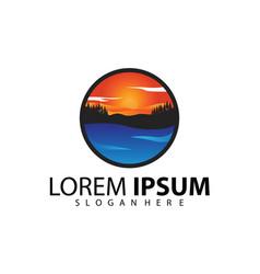 sunset logo template on sea vector image