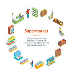supermarket or shop banner card circle isometric vector image