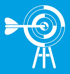 Target with an arrow icon white vector
