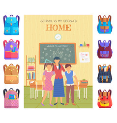 teacher and pupils in classroom school vector image