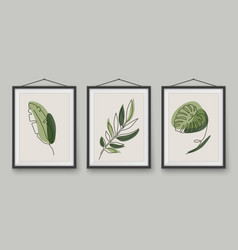 tropical leaves one line drawing in realistic vector image
