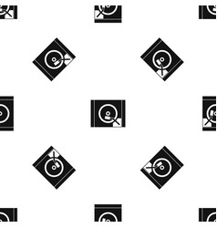 turntable pattern seamless black vector image