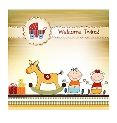 Twins announcement card vector