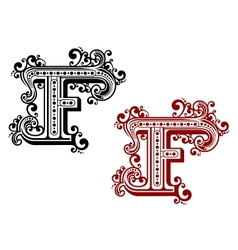 Vintage letter F with decorative elements vector image