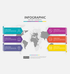 web6 steps infographic timeline design template vector image