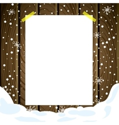White note post pattern with pins on wooden board vector image