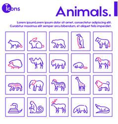 Wild animals symbols color linear icon set vector