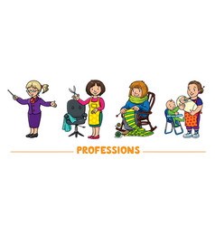 Womans professions funny characters set 1 vector