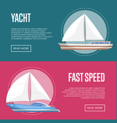 Yachting and cruising yachts flyers with sailboats vector