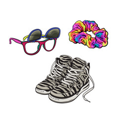 90s fashion - sneakers sunglasses with removable vector image vector image