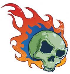 flaming skull tattoo style illustratio vector image vector image