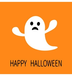 Funny flying ghost Sad face Happy Halloween vector image
