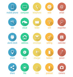 set of flat round icons vector image vector image