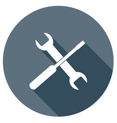 wrench and screwdriver icon for web design vector image