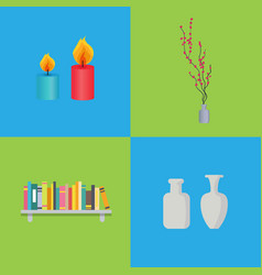 candles and vases interior set vector image vector image