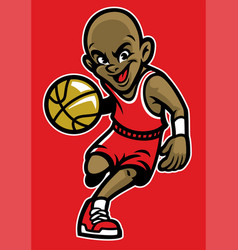 kid playing basketball vector image vector image